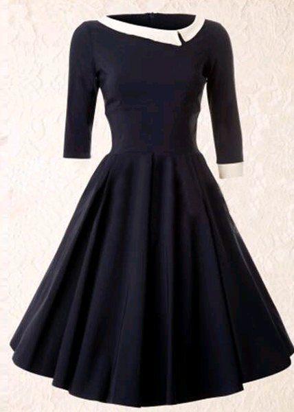 Vintage Style Scoop Neck 3/4 Sleeve HIt Color A-Line Dress For Women
