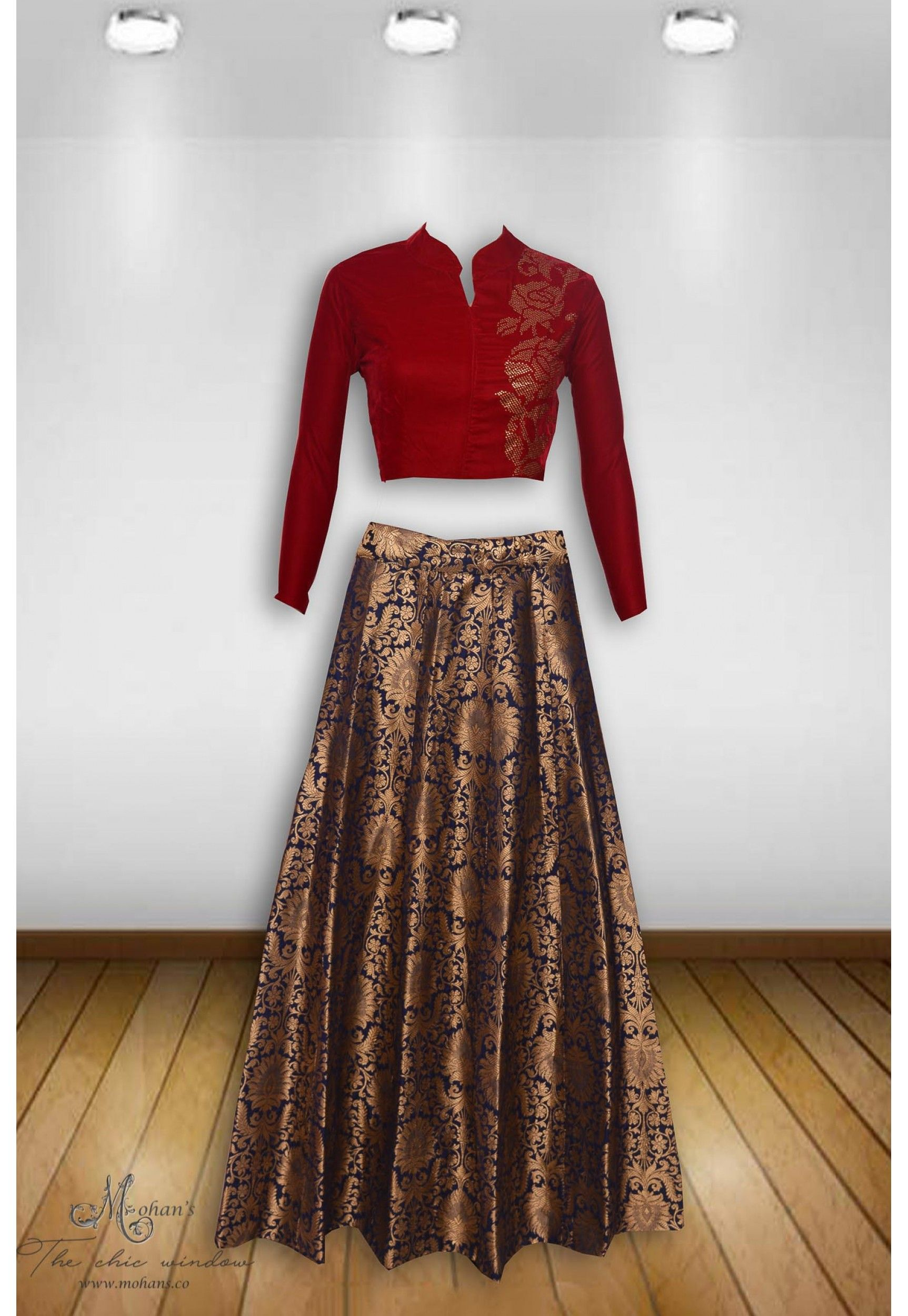 17f10875335bf Alluring cherry and blue ensemble with swarovski work on choli and brocade  skirt