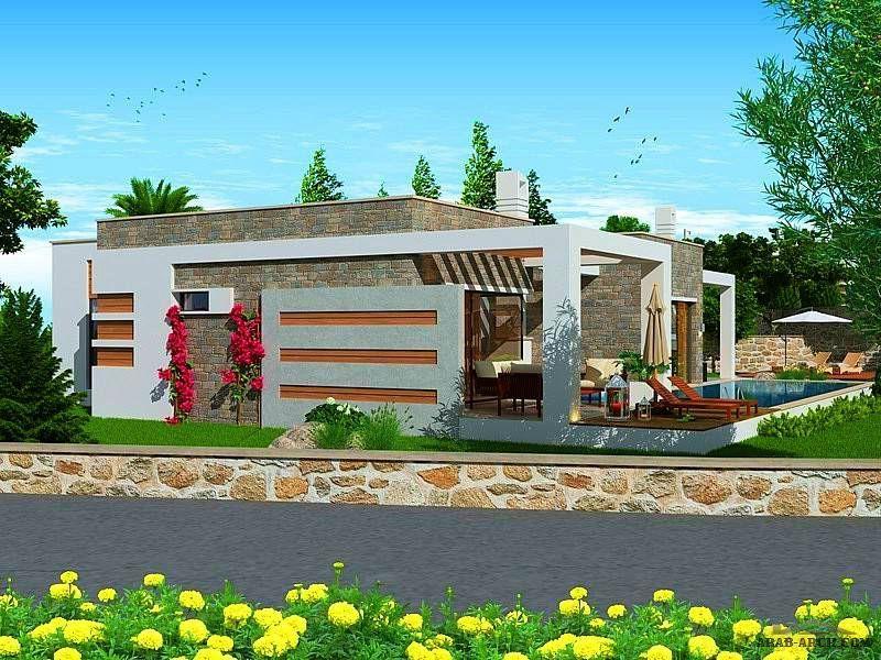 تصميم بيت تركى مودرن طابق واحد 4 غرف نوم 1 ماستر المسبح مساحة الارض 200 متر مربع والبناء 143 متر مربع Arab Arch House Styles House Plans Mansions