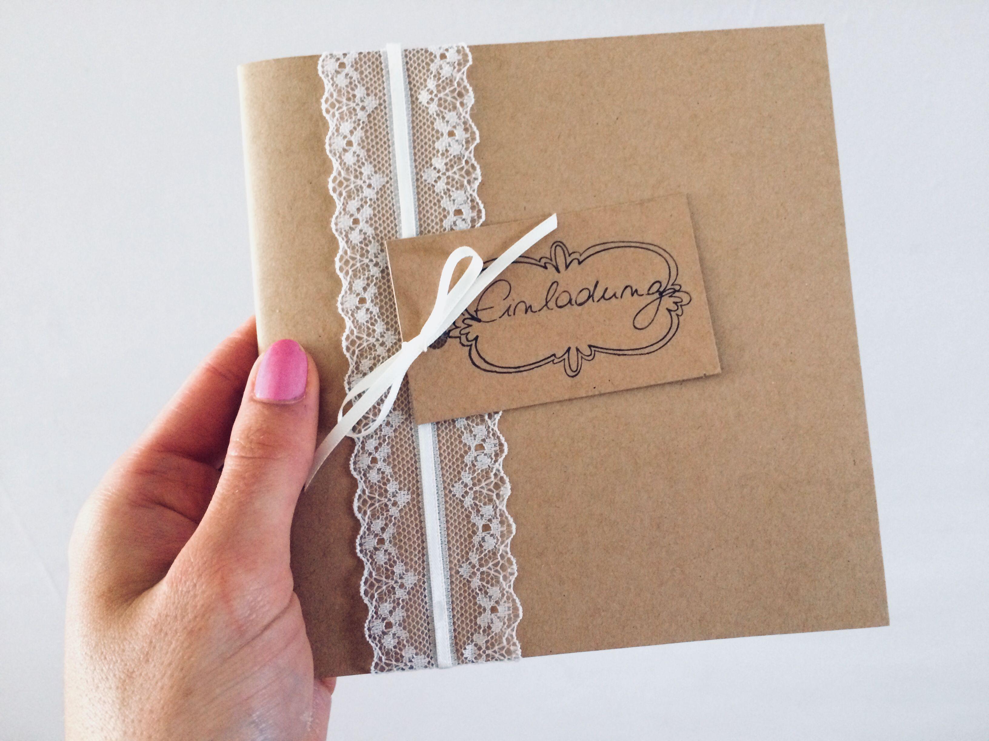 Selbstgemacht Karte Basteln Hochzeitseinladung Einladung