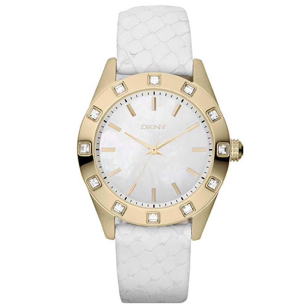 1808b865a9dcf DKNY NY8826 Women s MOP Dial Gold Plated Steel White Leather Strap Watch