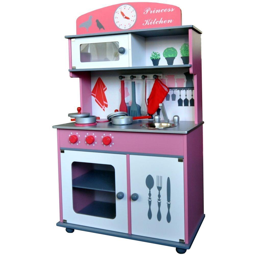 Details zu Kinderküche Spielküche aus Holz mit Zubehör ROSA ...