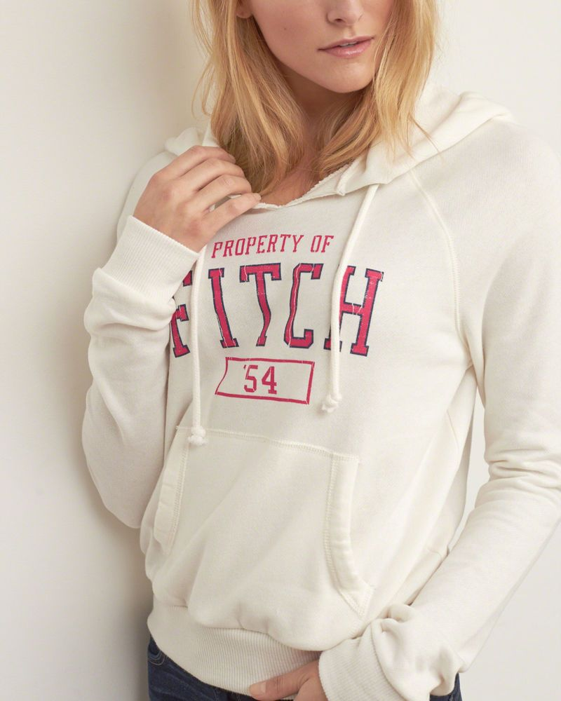 f7362fedab2 Abercrombie   Fitch Hoodie Womens Distressed Graphic Hoodie M Off White NWT