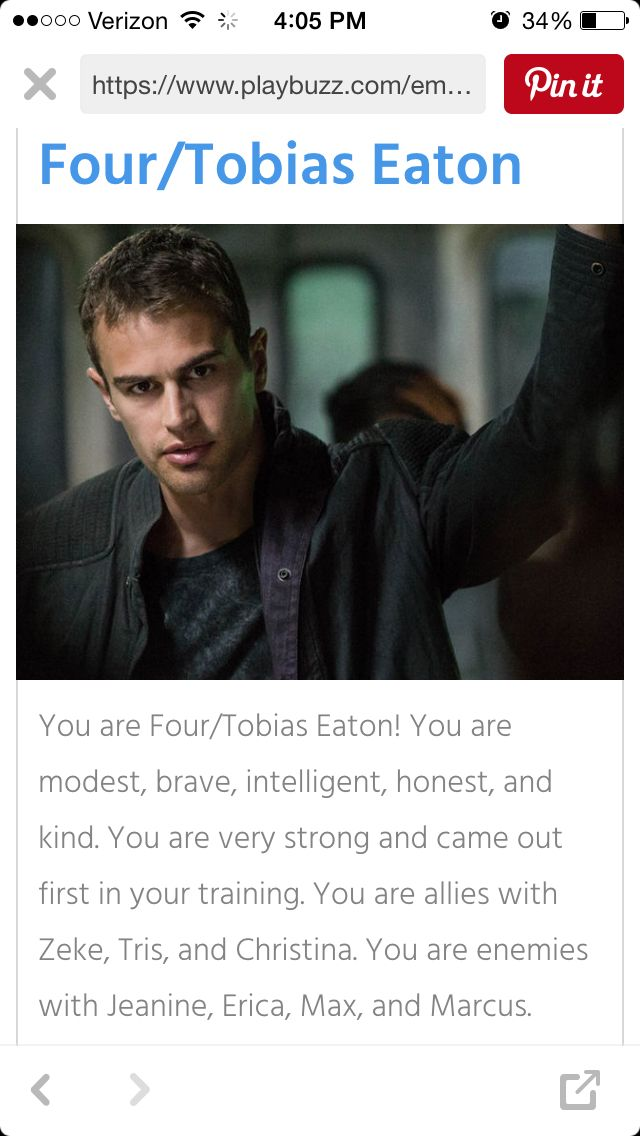 I took a quiz on buzzfeed and learned im the amazing Four(Tobias Eaton)