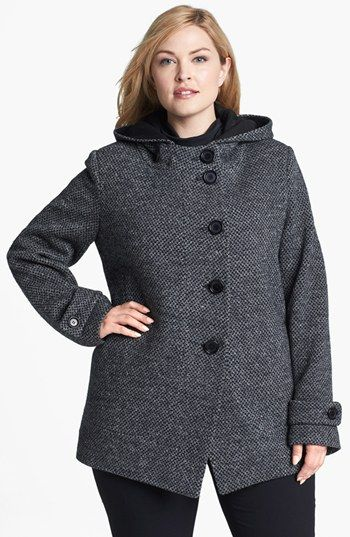 Kristen Blake Hooded Wool Blend Coat (Plus Size) available at #Nordstrom