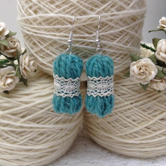 micro yarn doily earrings - adorable gifts for knitters and crocheters made by HandDrawnYarn                                                                                                                                                                                 More