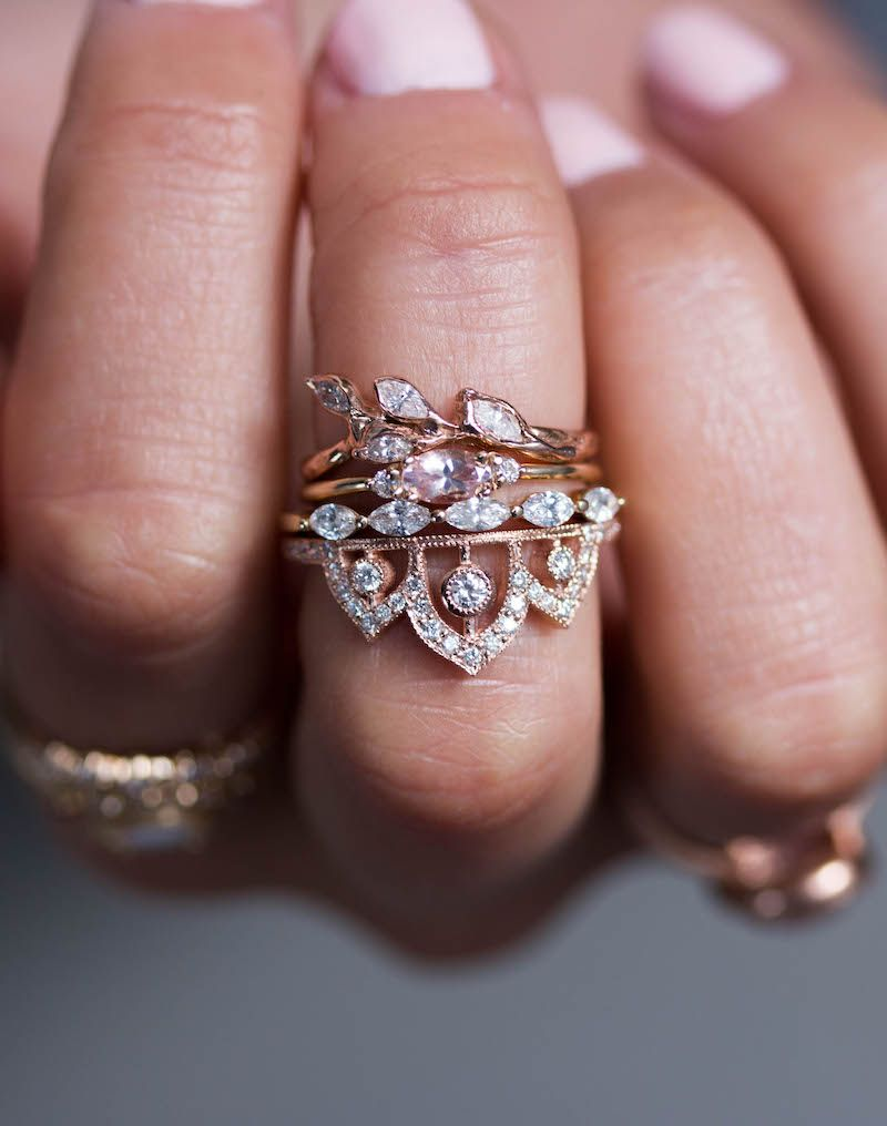 Morganite Wedding Ring, Destiny with two hermes side bands - bridal ...