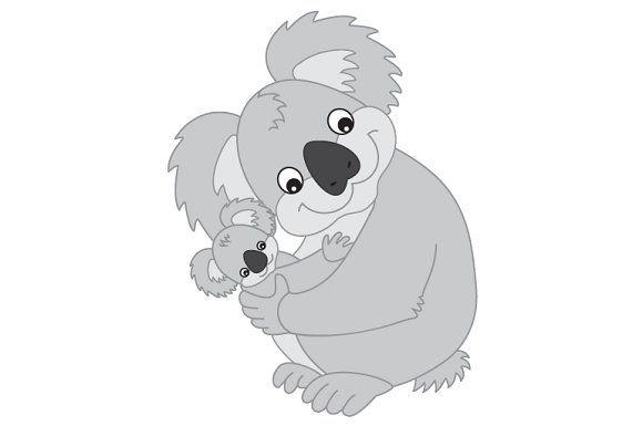 Vector Koala With Baby Baby Koala Koala Bear Cartoon