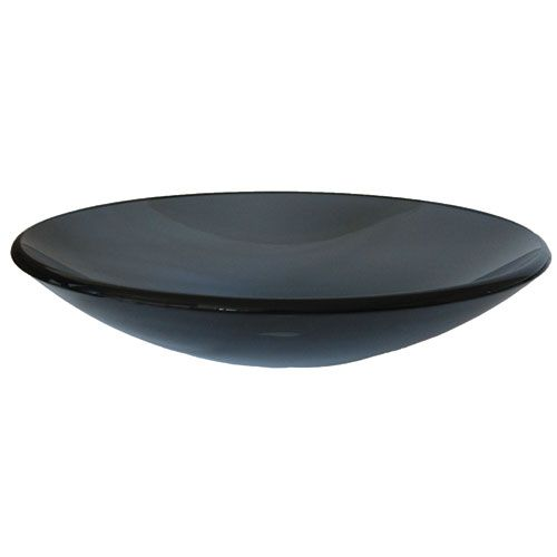 coetaneo clear grey low profile round glass vessel sink