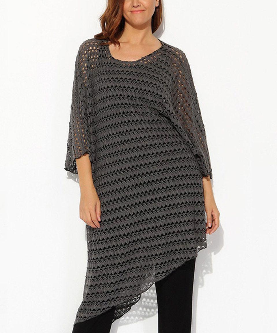 Another great find on #zulily! Gray Crochet Asymmetrical Tunic - Plus by Hüseyin KÜÇÜK #zulilyfinds