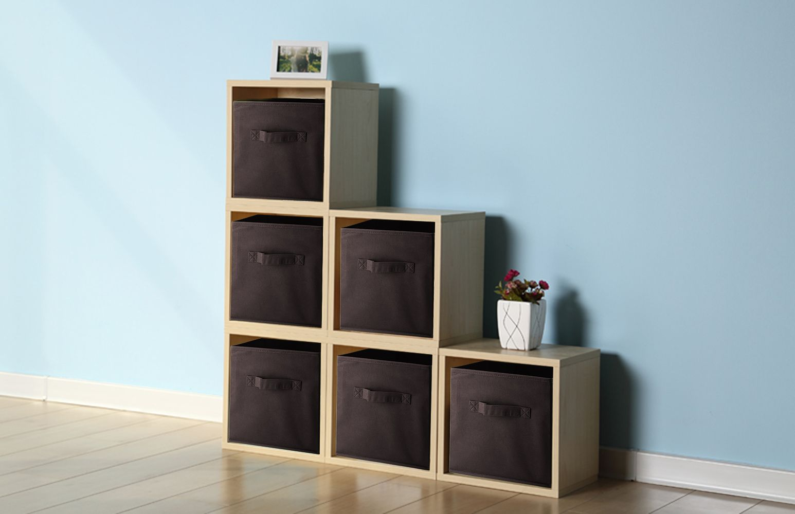 Cloth Storage Cubes Bins Bo Baskets Foldable Closet Drawer Home Organizer For Clothes Toys Shelf With Dual Strong Handles Set Of 6 Coffee