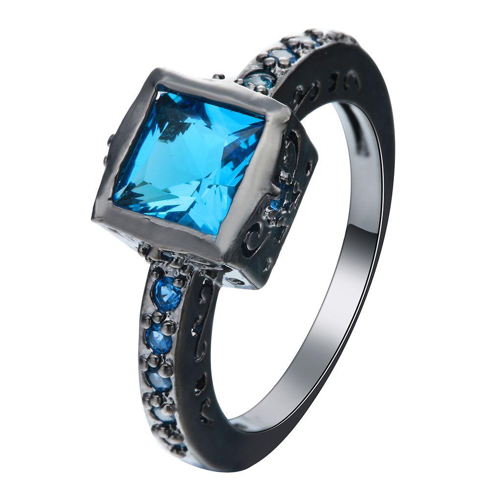 Sky blue square crystal vintage black gun promise rings for love new