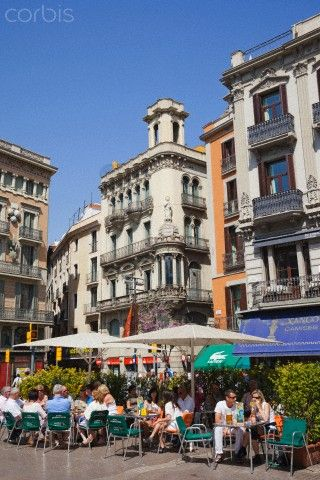 ,Barcelona,The Ramblas,Outdoor Cafes. Catalonia