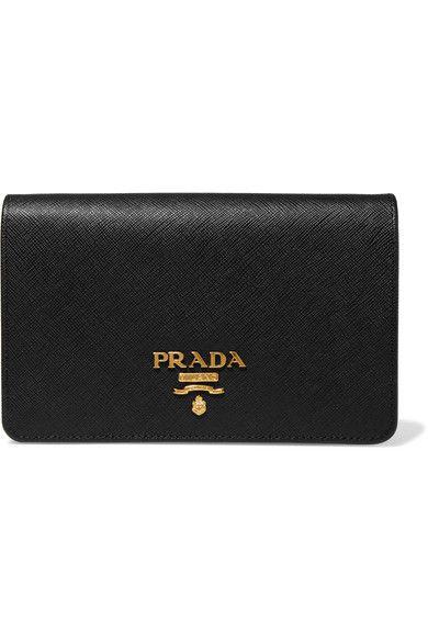 0a384c676eda Prada - Wallet On A Chain Textured-leather Shoulder Bag - Black ...