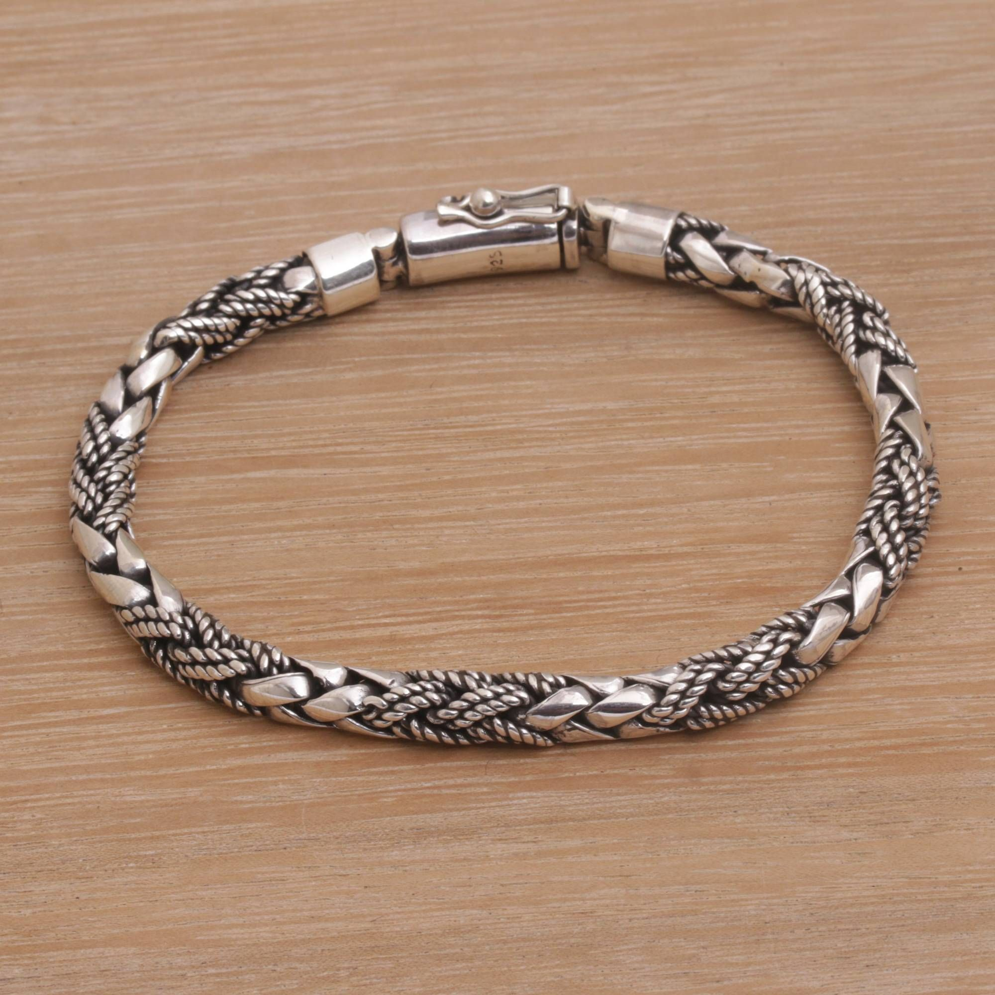 Sterling Silver Braided Bracelet Banded Krait Silver Braided Bracelet Silver Bracelets Silver Chain Bracelet