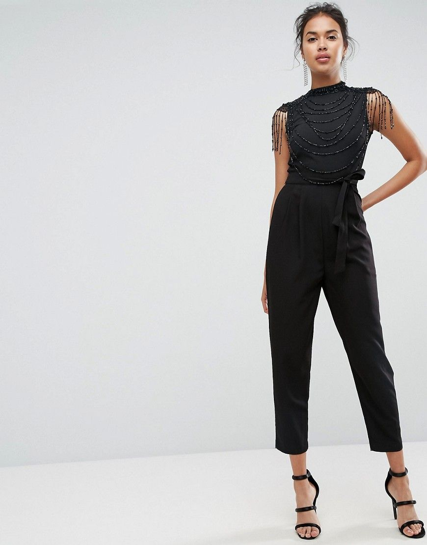 b696e9416779 ASOS Embellished High Neck Jumpsuit - Black