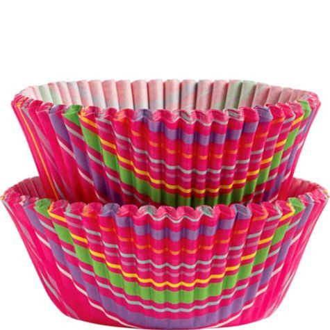 Snappy Stripes Cupcake Baking Cups 50ct - Party City