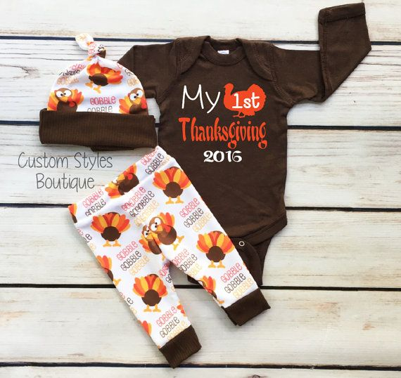 Baby Boys First Thanksgiving Outfit, Brown Infant Bodysuit, Leggings And Hat With Turkeys, Baby Boy Thanksgiving Outfit Set, Hospital Outfit #thanksgivingoutfit