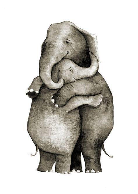Elefant Hug Love Original Illustration Druck