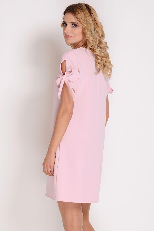 1e62342b04 AVARO Elegancka sukienka z wiązaniem na rękawie SU-1349