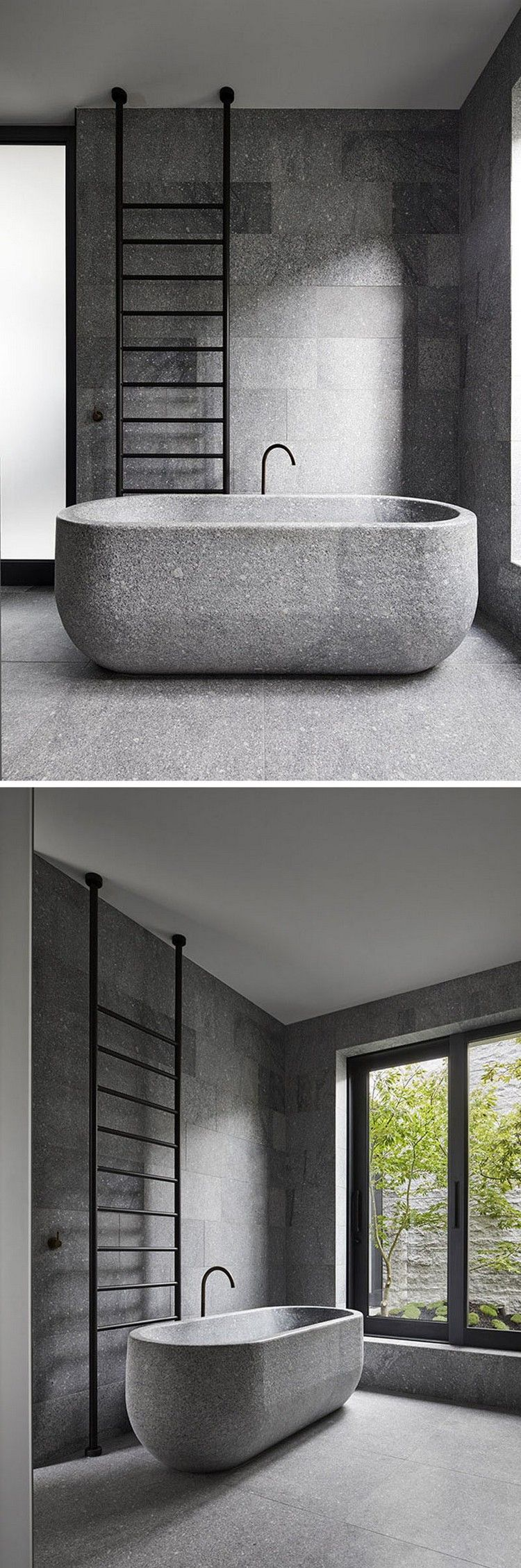 Modernes Badezimmer Design Granit Fußboden Wände Badewanne #architektur  #architecture #facade #interior
