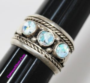 Artisan Synthetic Opal Oxidized 925 Sterling Silver Ornate Wide Band Ring Size 7.5
