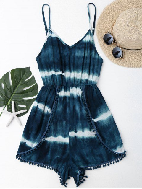 2efd78e91a Cami Tie-Dyed Pom Dolphin Cover Up Romper | Zaful.com | Pinterest ...