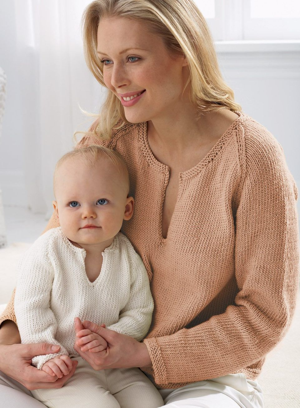 Free Knitting Pattern Mom and Baby Pullover matching sweaters - What ...