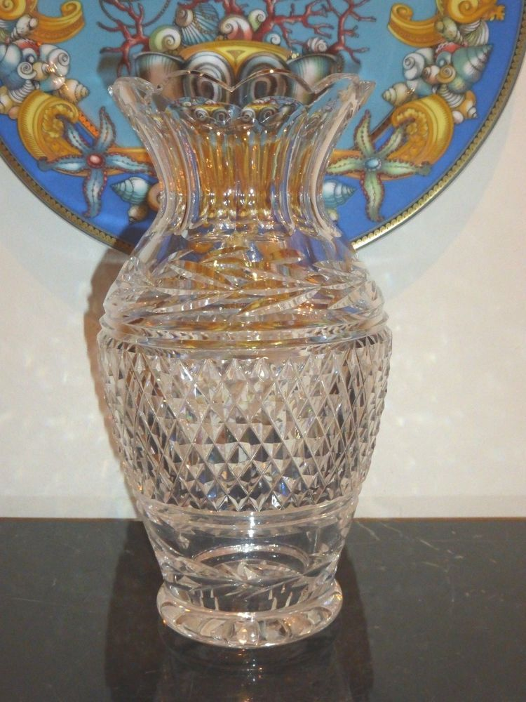 Waterford Crystal Vintage Glandore Ruffled Vase With Laurel And