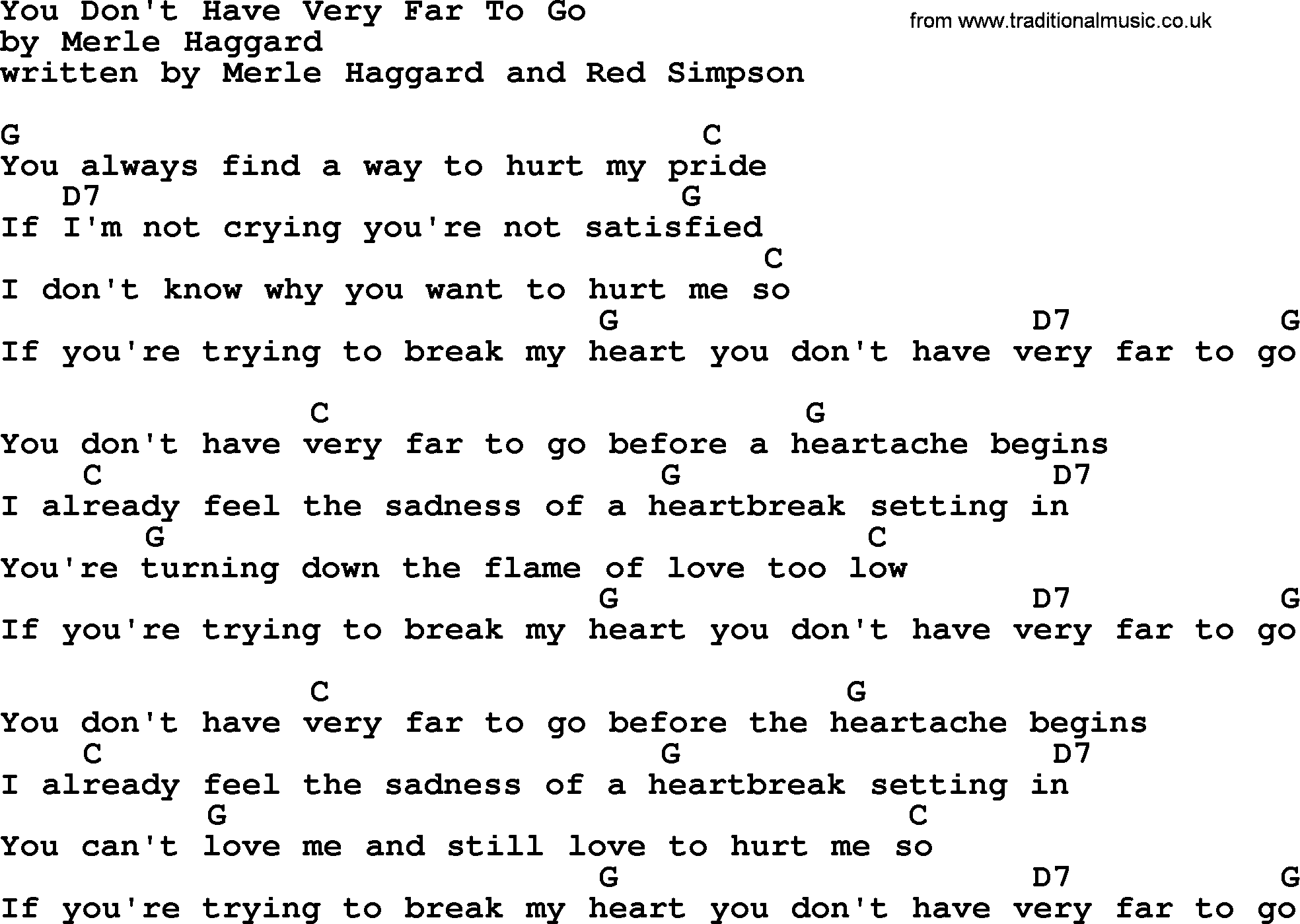 Merle Haggard Song You Dont Have Very Far To Go Lyrics And Chords