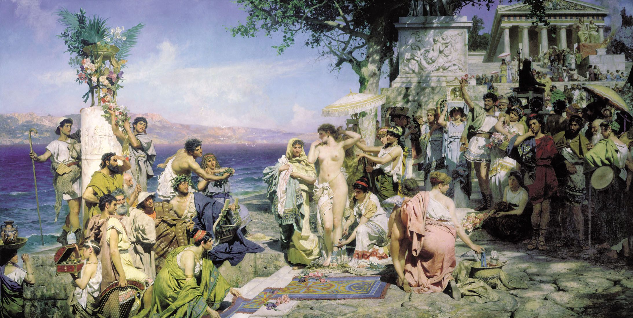 Phryne at the Poseidonia in Eleusis by Henryk Siemiradzki, c. 1889. Phryne is shown naked, preparing to step into the sea.