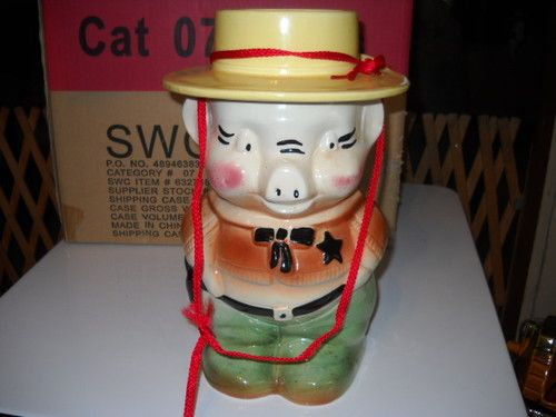 Robinson Ransbottom Pottery Sheriff Pig Cookie Jar 1950s Roseville Nice Piece | eBay