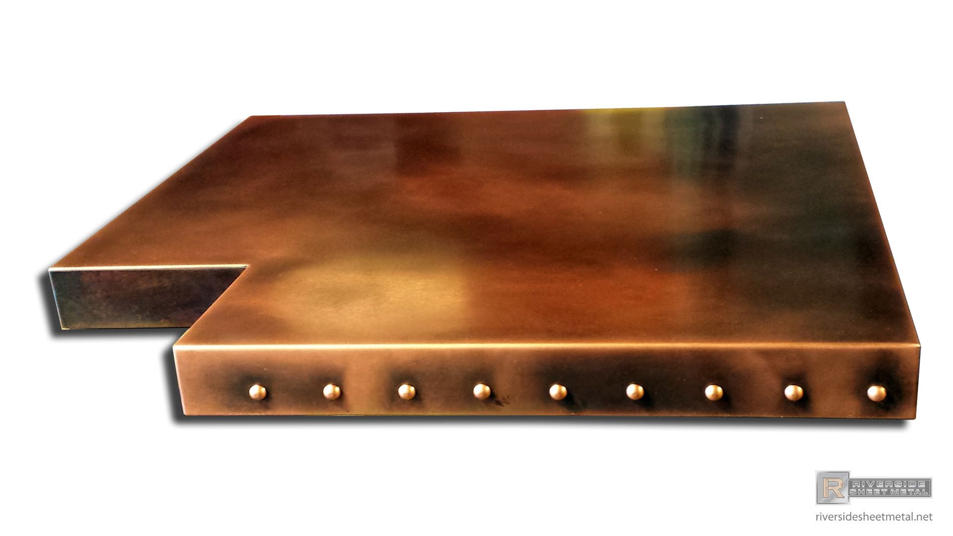 Superbe Copper Bar Table Top With Dark Wash Patina And Rivets