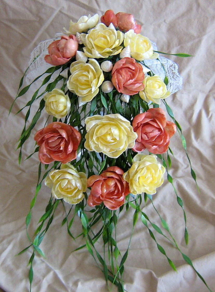 Coral And Yellow Seashell Flower Cascading Wedding Bouquet At Www
