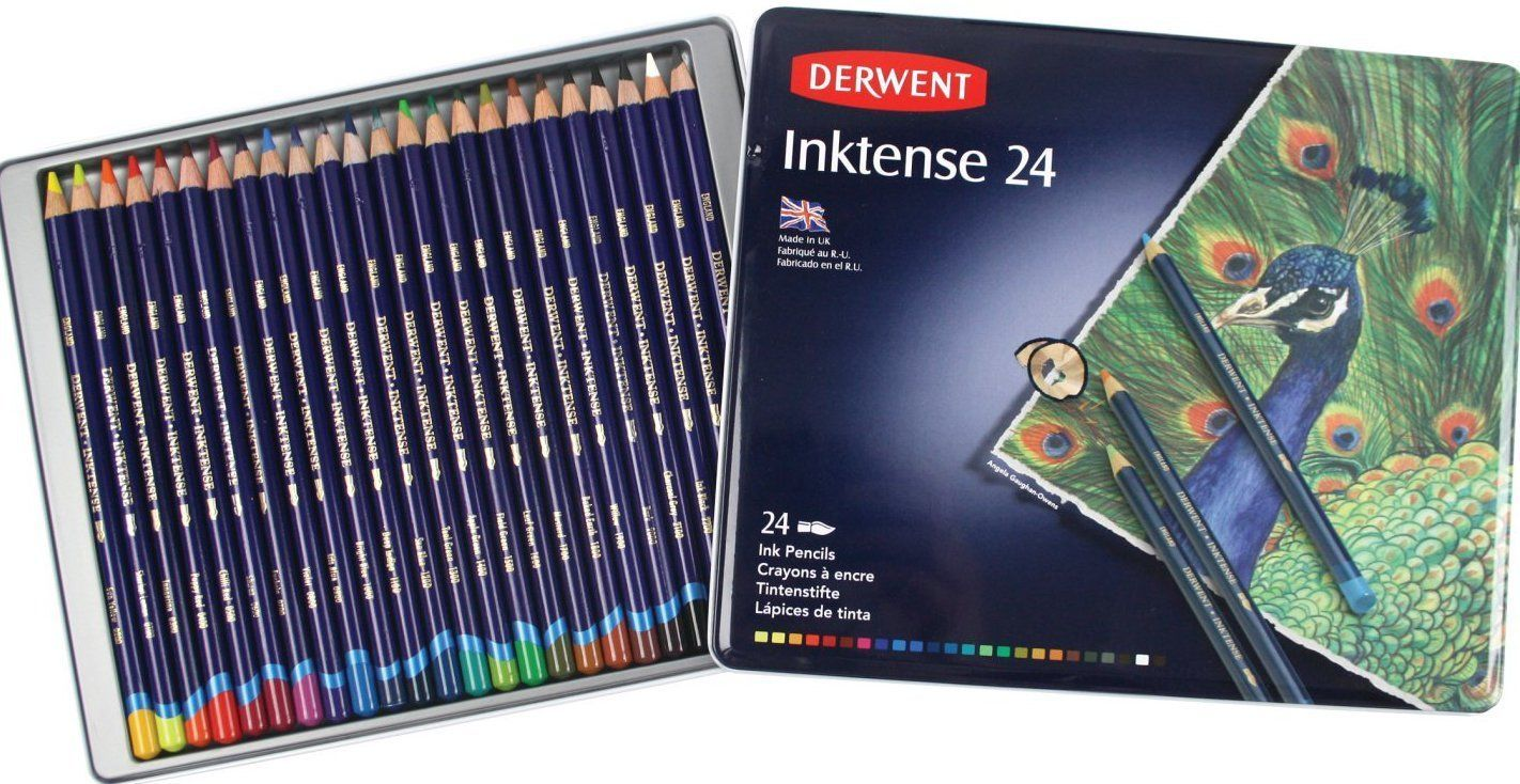 Derwent Drawing Pencils Inktense 4mm Core Metal Tin Watercolor 24 Count 0700929 Derwent Colored Pencils Watercolor Pencils Color Pencil Drawing