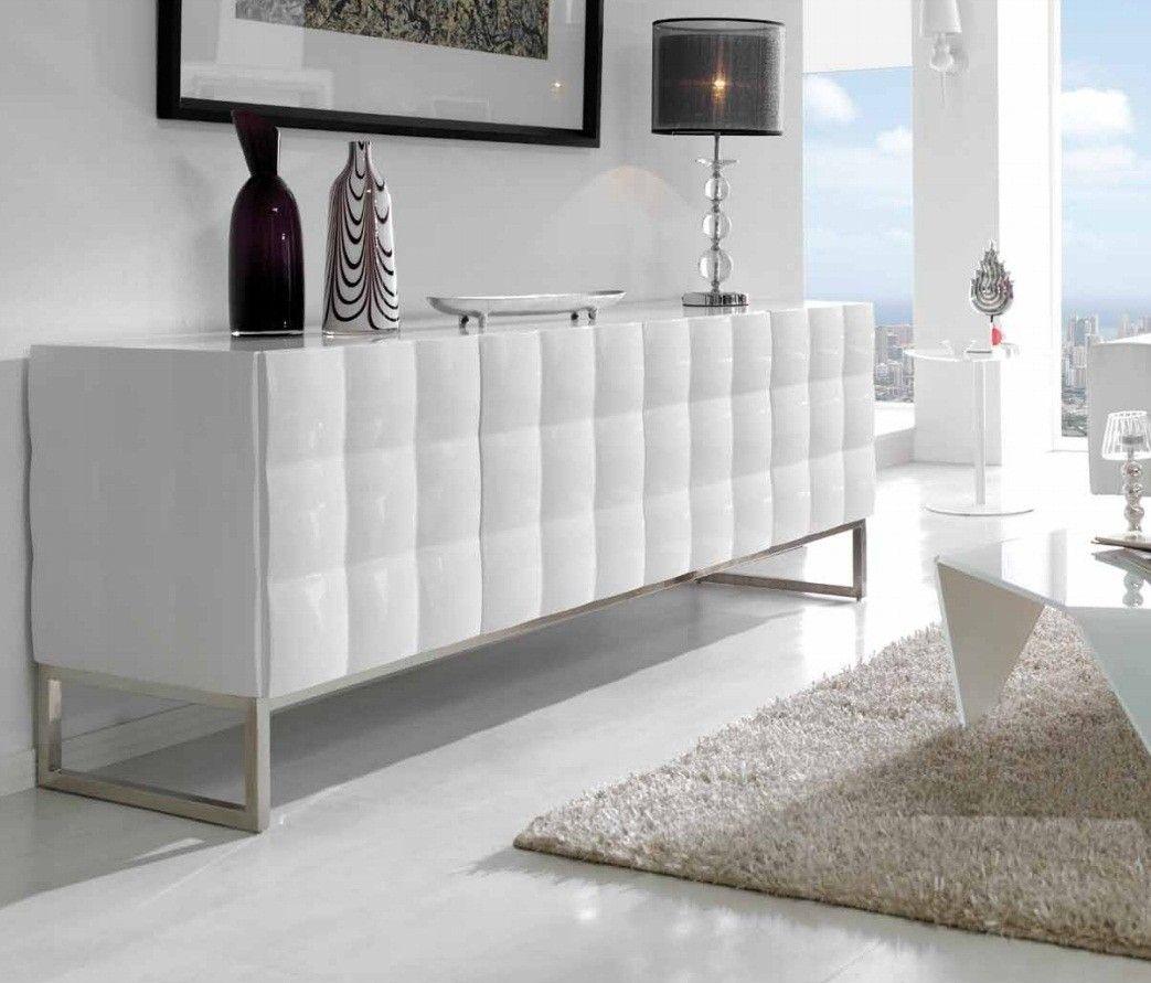 Buffet design bas 4 portes blanc laqué Cayenne | Inspiration