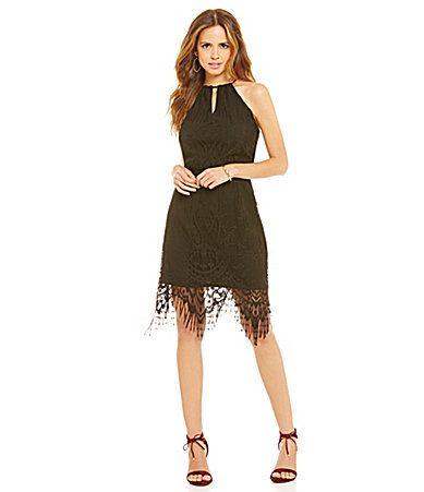 75b02979d42 Gianni Bini Emily Fringe Lace Dress  Dillards