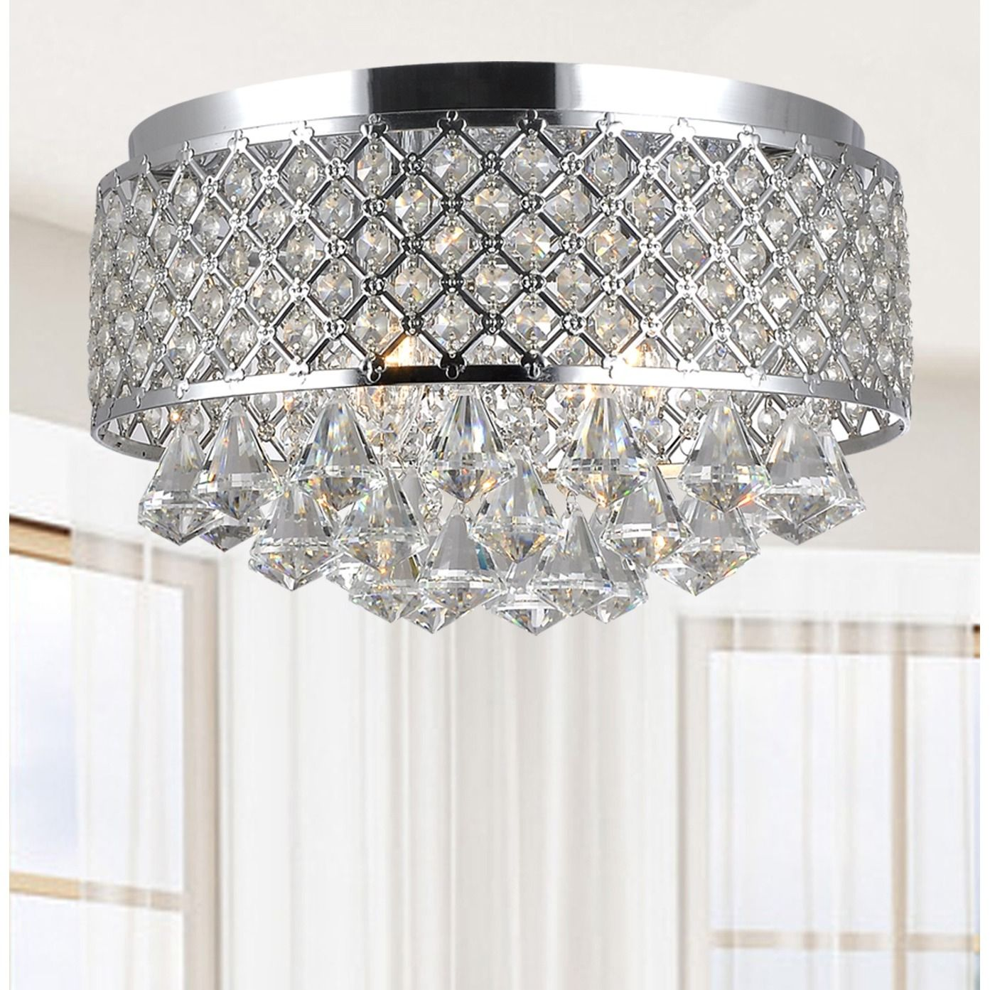 Candice 4 Light Chrome And Crystal Flush Mount Chandelier Silver