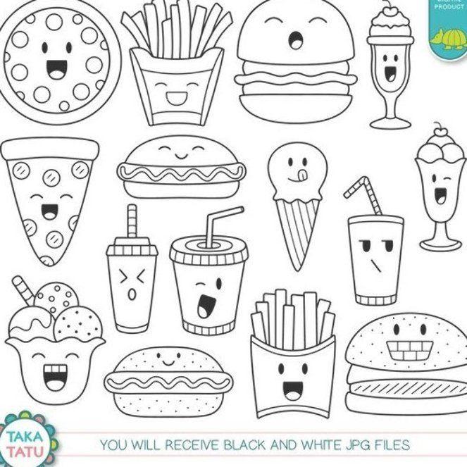 Latest Photographs Kawaii Fast Food Digital Stamp Fast Food Clipart Cute Fast Food Kawaii Easy Doodles Drawings Cute Doodle Art Doodle Art For Beginners