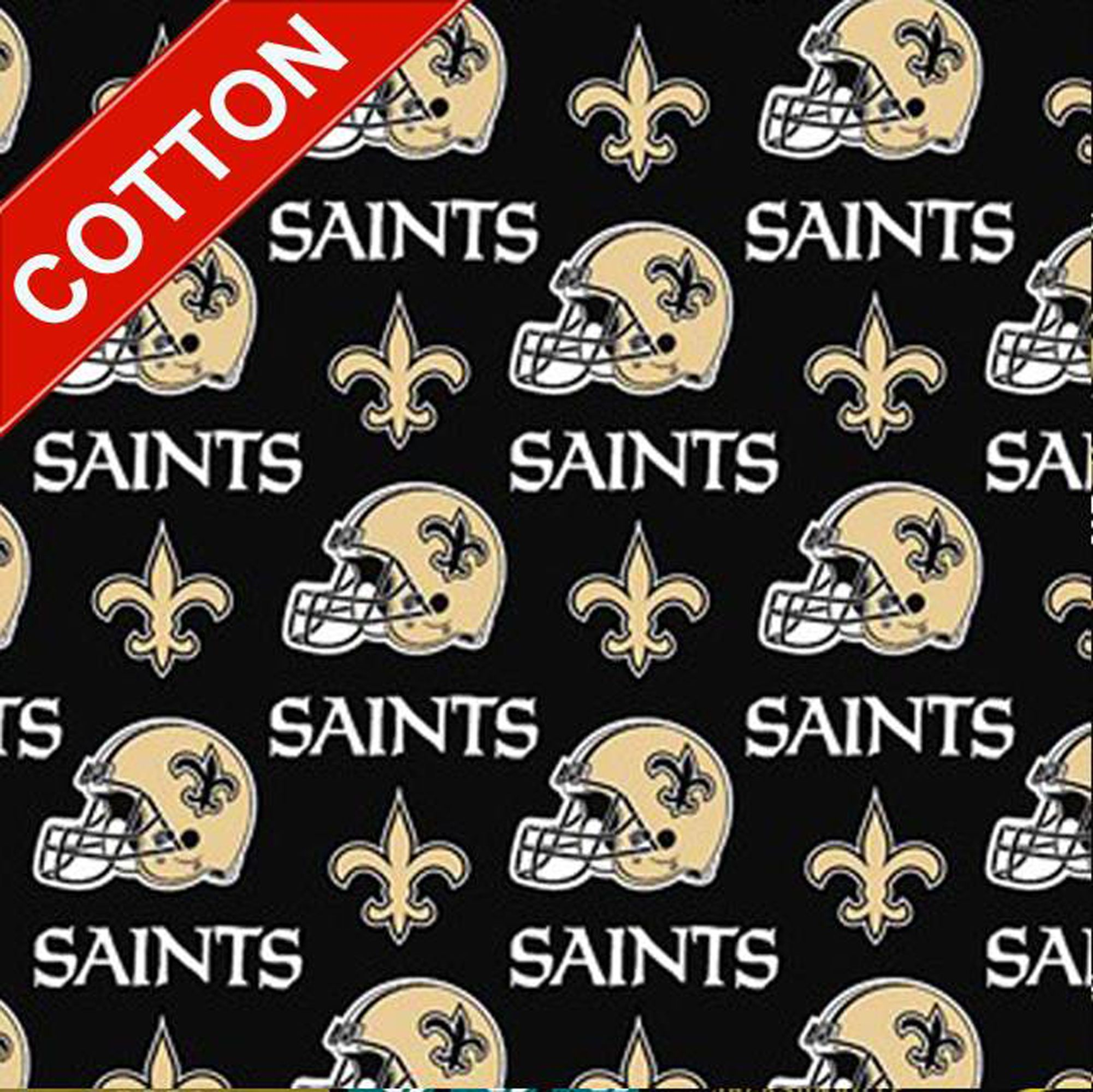 New Orleans Saints Cotton Fabric Nfl Football Team Cotton Fabric In 2020 Football Fabric New Orleans Saints Crafts Sewing Projects