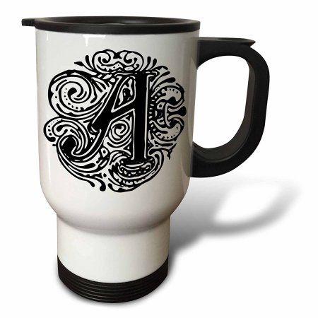 3drose Fancy Letter A Travel Mug 14oz Stainless Steel Fancy