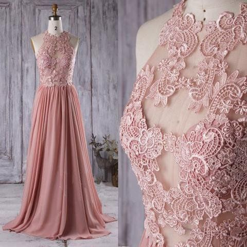 Lace Top See Through Dusty Rose Long A Line Chiffon Prom Bridesmaid Dresses BG0239