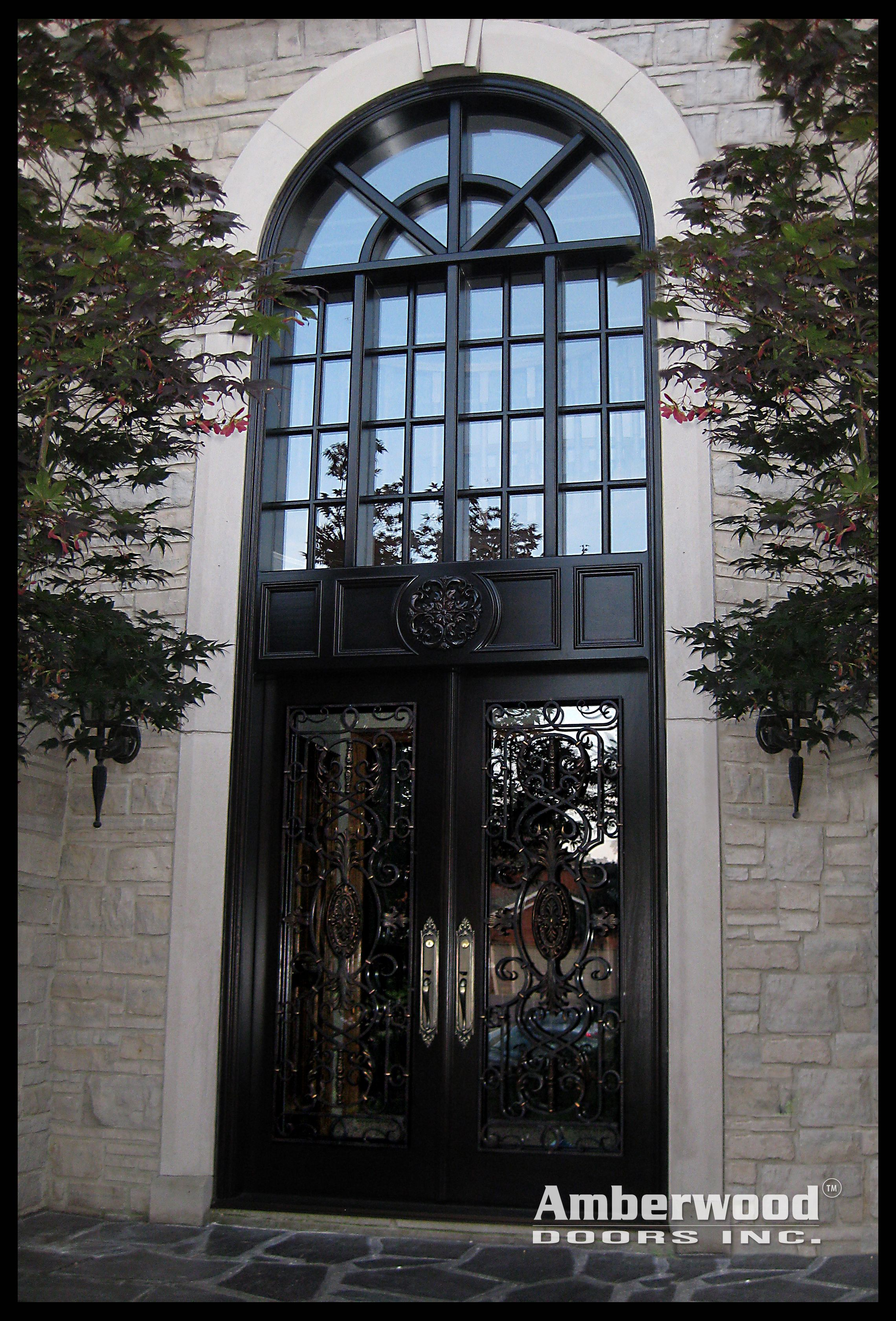 """Exquisite Front Entry Doors At Home Depot Fiberglass: Talk About A """"Grand"""" Entrance! This Magnificent Amberwood"""