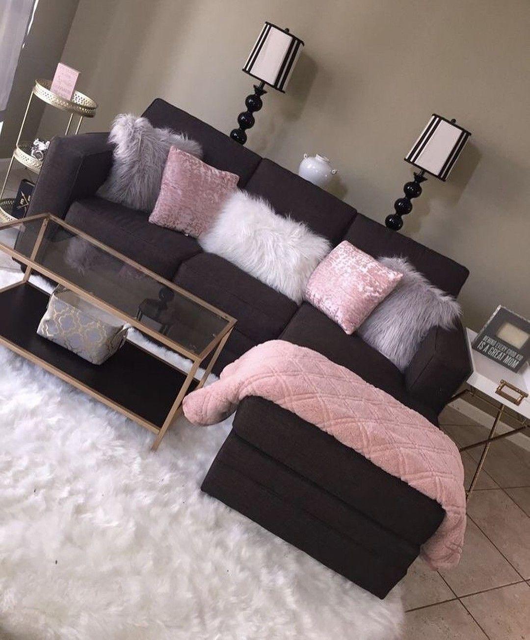 Pinterest Girly Girl Add Me For More Black Furniture Living Room Living Room Decor Apartment Pink Living Room