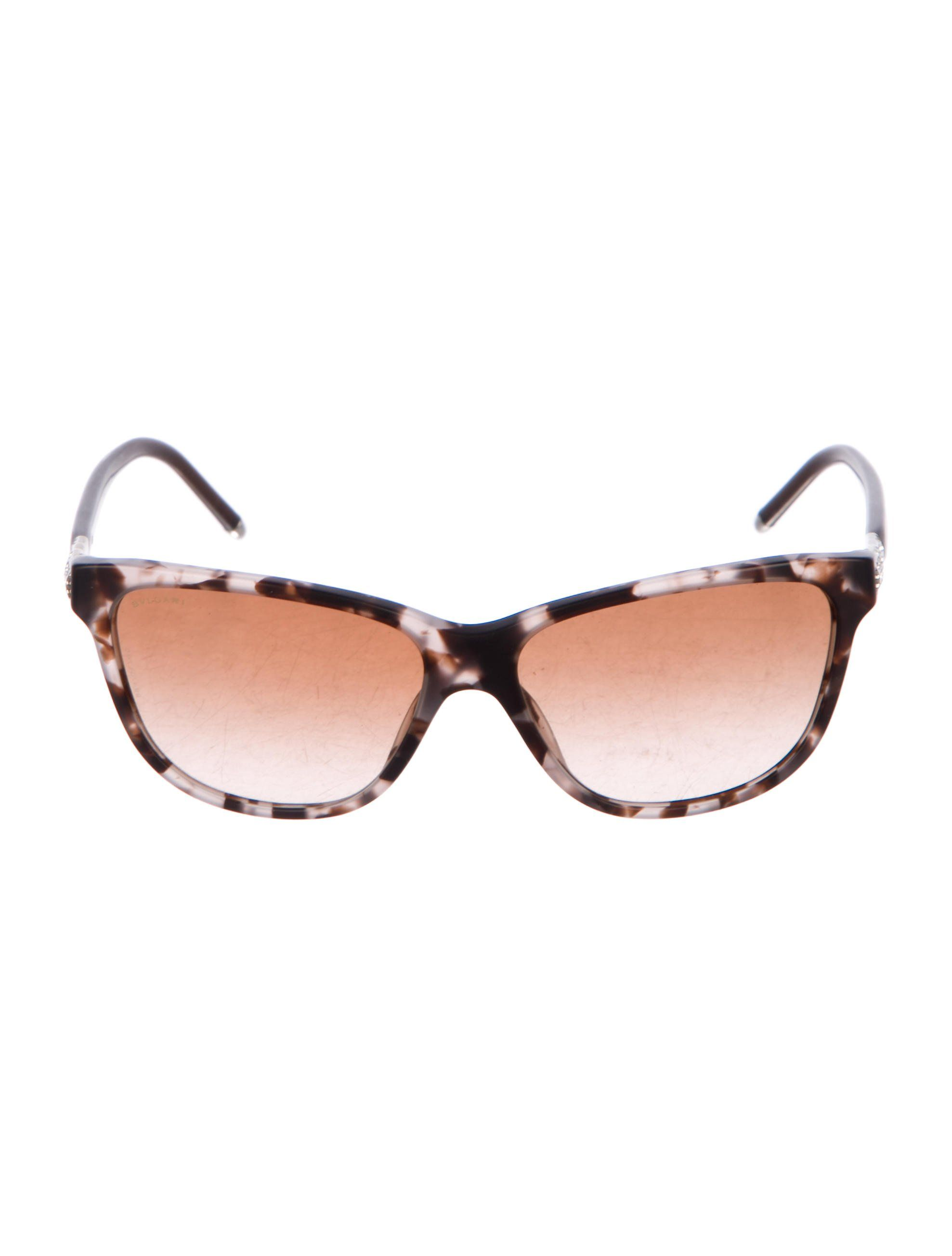 8e1fd1f3c48 Brown and multicolor matte acetate Bvlgari sunglasses with gradient lenses  and crystal embellishments at temples.