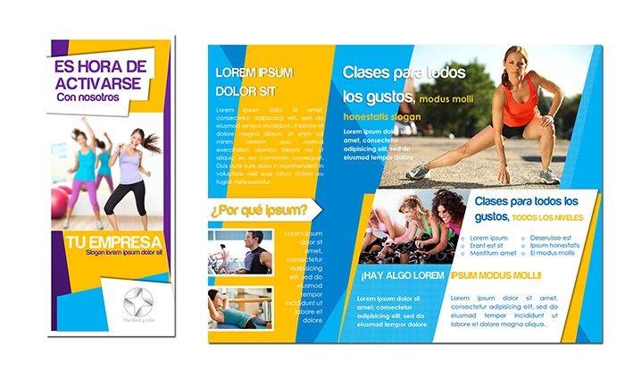 Deportes, clases, gimnasios y salud física -Plantilla para tríptico o brochure