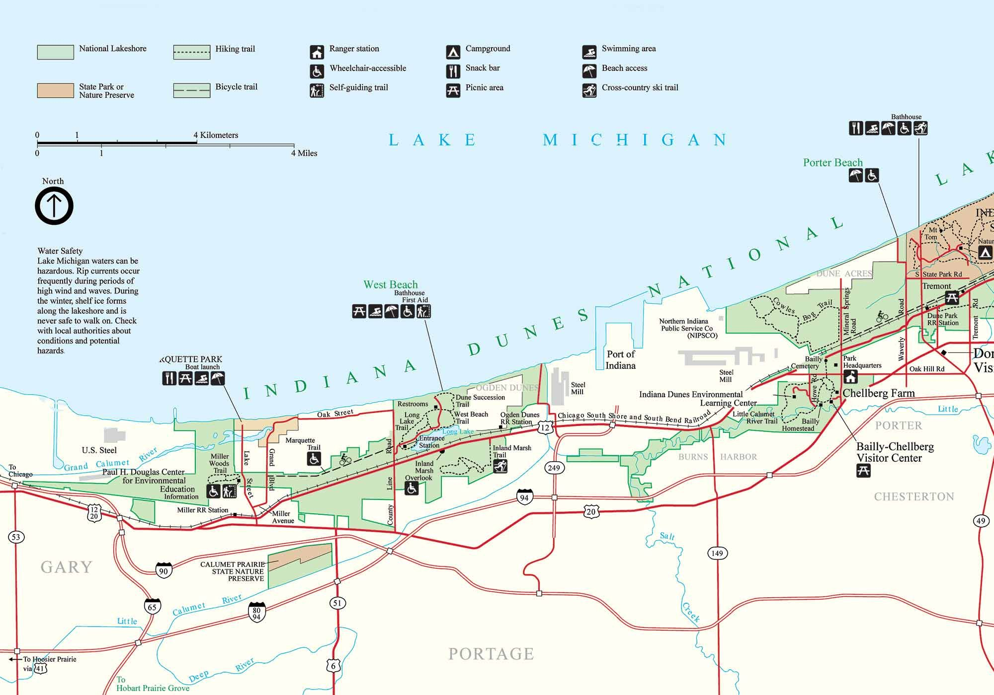 Indiana Dunes Park Map - Gary Indiana USA • mappery | Oh, the places on indiana road map of usa, indiana state map, maryland map usa, indiana atlas map site, indiana map with cities,