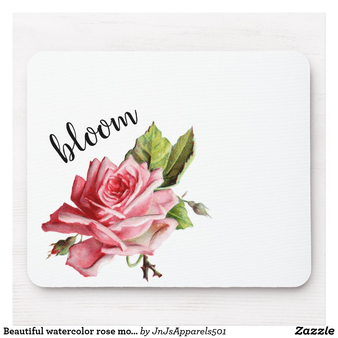 Beautiful watercolor rose mouse pad
