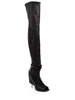 ae4f701717 Givenchy Thigh-High Lace-Up Leather Open-Toe Boots - Black - Size 36 ...
