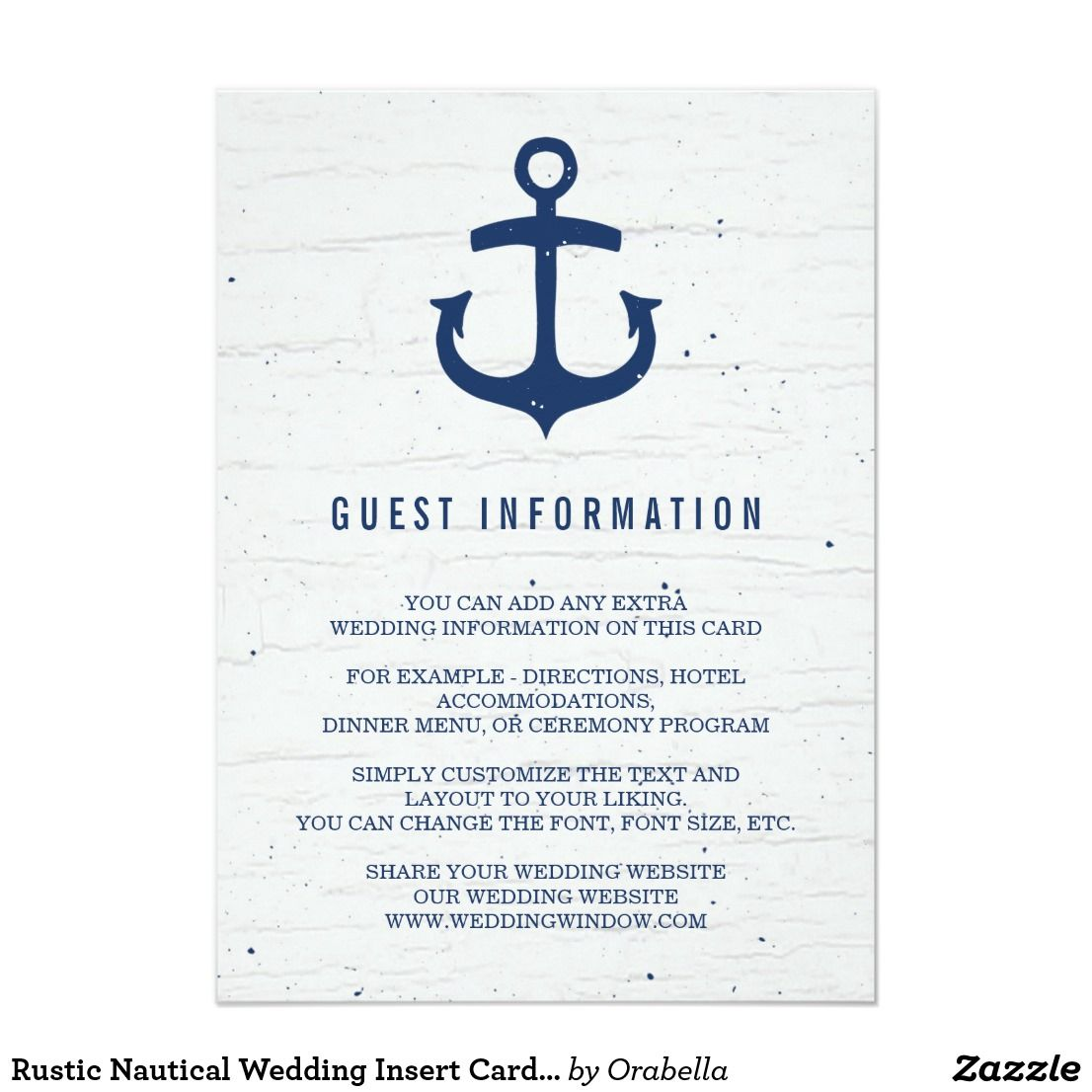 Rustic Nautical Wedding Insert Card Navy A Navy Blue Anchor On A